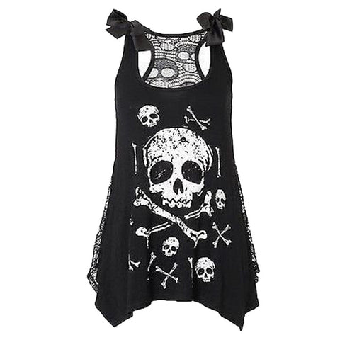 Skull Print Loose Lace Patchwork Tops - DarkVibes