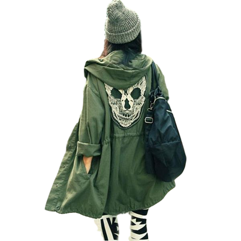 Punk Skull  Hooded Coat Rain Trench - DarkVibes