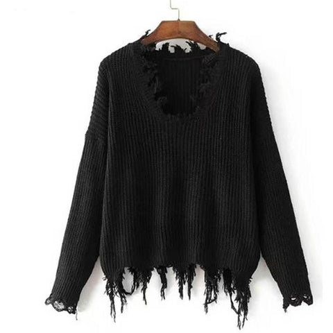 Casual Sweater Women Loose Black Outerwear - DarkVibes