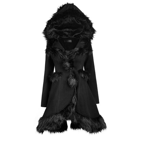 Lolita Style Hooded Fur Coats - DarkVibes