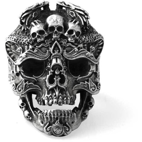 Dragon skull Sterling Silver 925 Ring Mens - DarkVibes