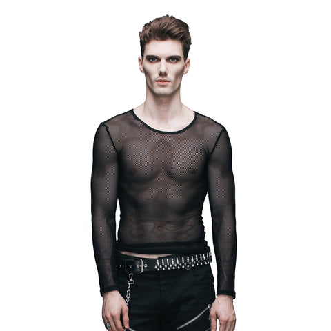 See-through  Stretch Mesh Tops Mens