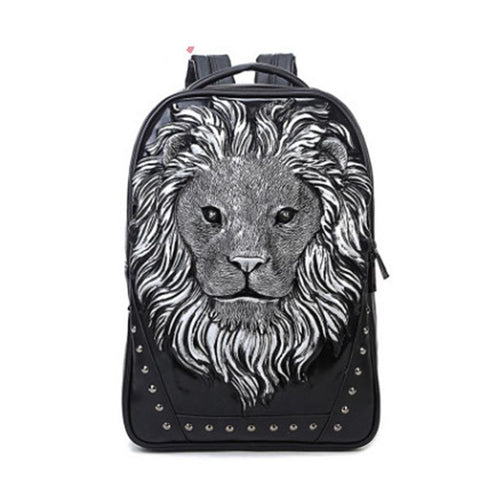 3D Lion design Imitation Leather Backpack