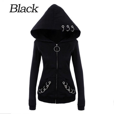Gothic Punk Women Hoodie With Rings Loose - DarkVibes