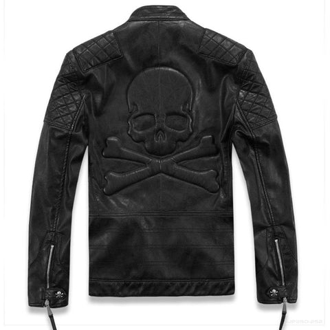 Skull Power Imitation Leather Jacket Mens - DarkVibes