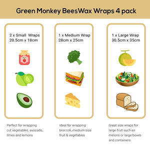 Beeswax Food Wrap - Green Monkey Bamboo Toothbrush