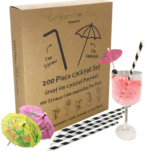 The Green Monkey Straw & Umbrella Cocktail Set