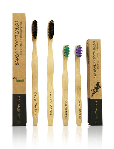 Green Monkey Kids & Adult Bamboo Toothbrush Family Pack - Green Monkey Bamboo Toothbrush