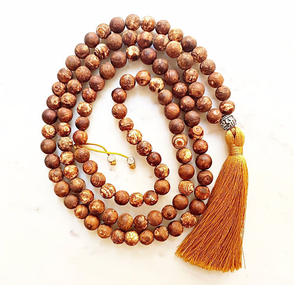 Aria Mala Atelier's unique one-of-a-kind brown fire agate gemstone meditation japa mala is for yoga meditation spiritual daily practise intention