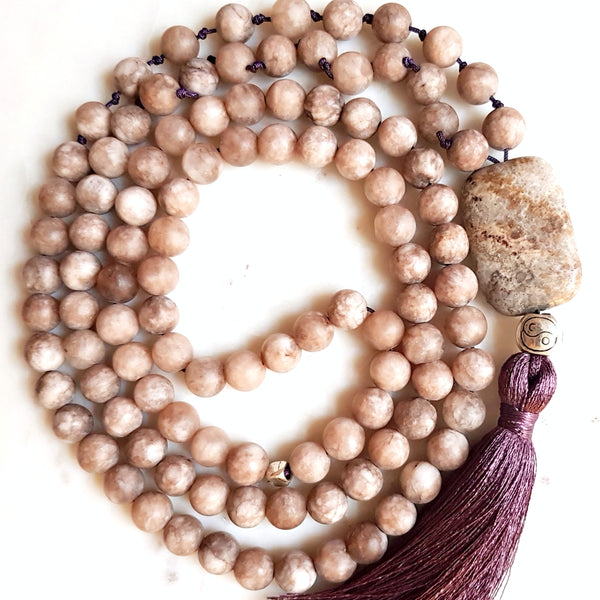 Aria Mala Atelier's unique one-of-a-kind smoky jade gemstone meditation japa mala with silver yin yang charm is for yoga meditation spiritual daily practise and intention setting