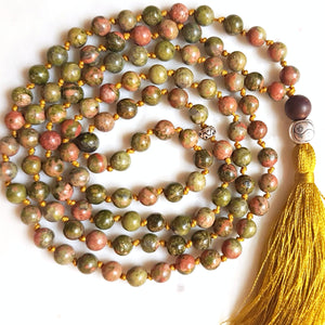 Aria Mala Atelier's unique one-of-a-kind knotted unakite gemstone meditation japa mala with silver yin yang charm is for yoga meditation spiritual daily practise