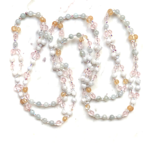 Aquamarine moonstone citrine rose quartz tantric mala