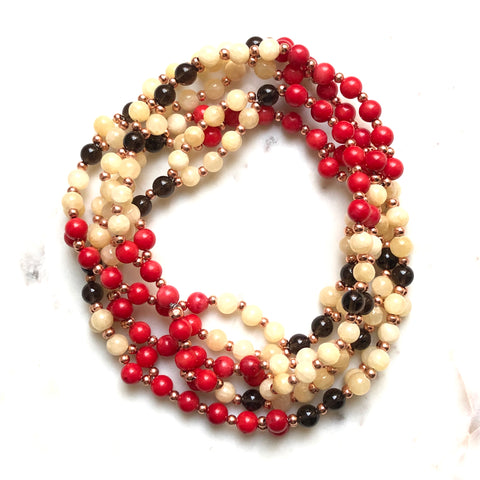 Tantric Mala Necklace: Red Coral, Smoky Quartz, Calcite 6 mm.
