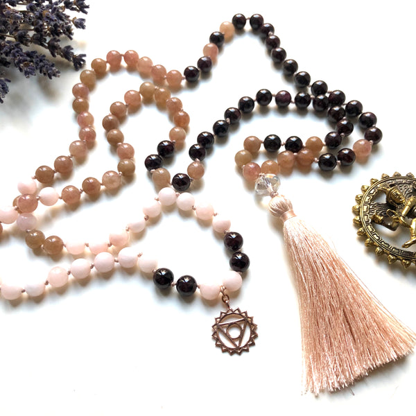Garnet, Quartz, Jade 108 Beads Mala, Tassel Necklace, Yoga Jewelry, Meditation Beads