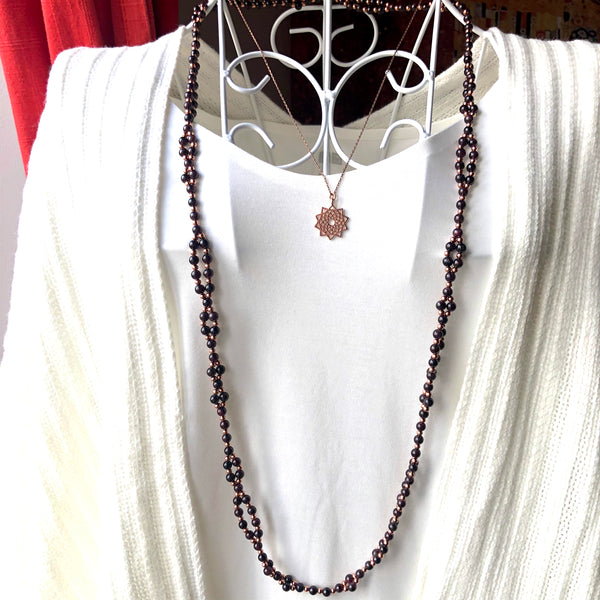 Tantric Mala Necklace: Garnet 6 mm.