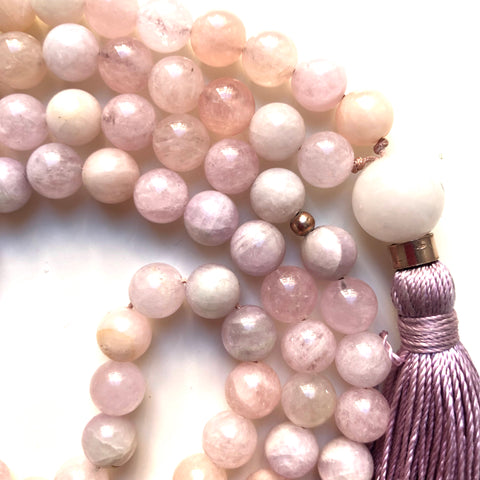 Kunzite Mala Beads, Morganite 108 Mala, Yoga Jewelry, Meditation Beads