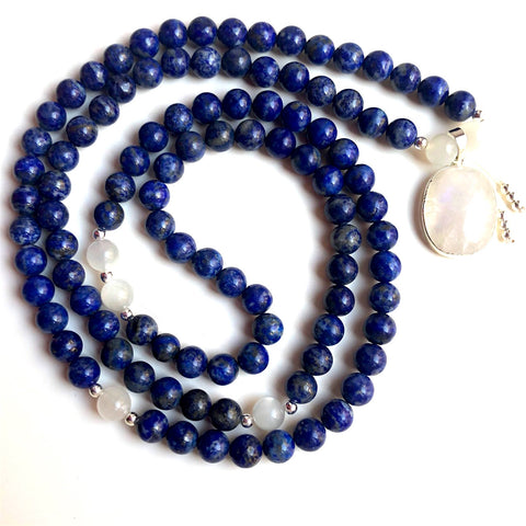 Custom Mala: Lapis Lazuli, Moonstone Mala Beads, Yoga Necklace