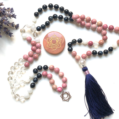 Blue Tiger Eye, Rhodonite, Moonstone, Quartz 108 Beads Mala, Tassel Necklace, Yoga Jewelry, Meditation Beads