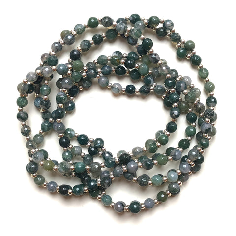 Tantric Mala necklace 6 mm faceted agate