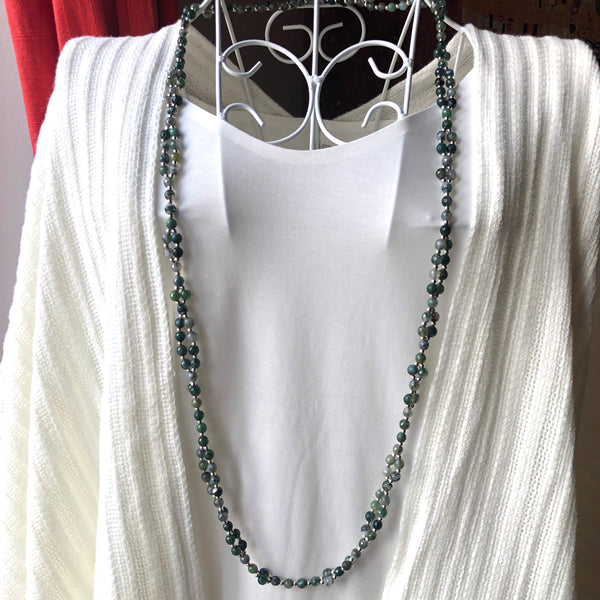 Tantric Mala Necklace: Agate Faceted 6 mm.