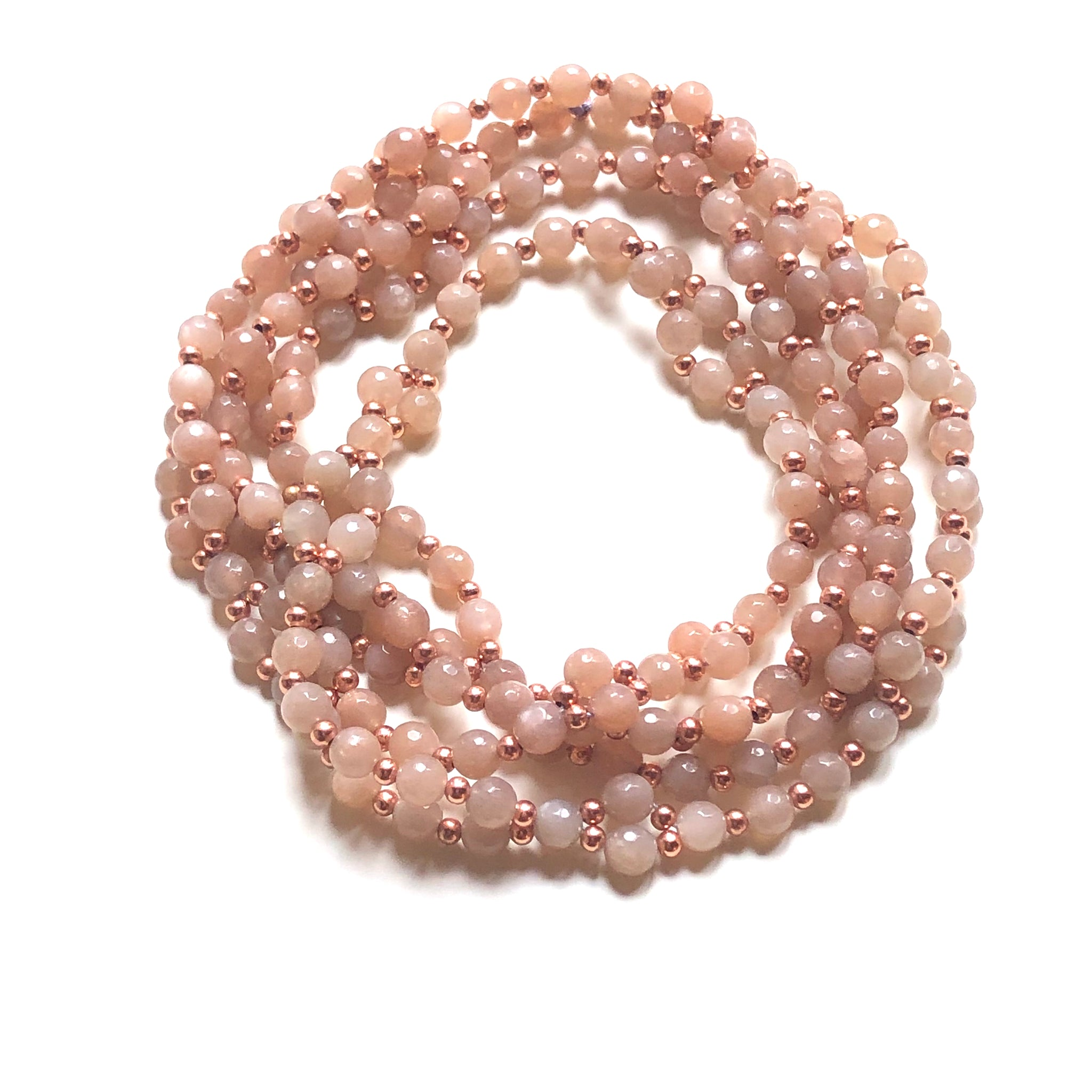 Tantric Mala necklace 6 mm rose moonstone