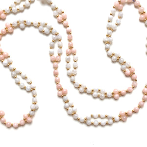Tantric Mala necklace 6 mm white moonstone morganite