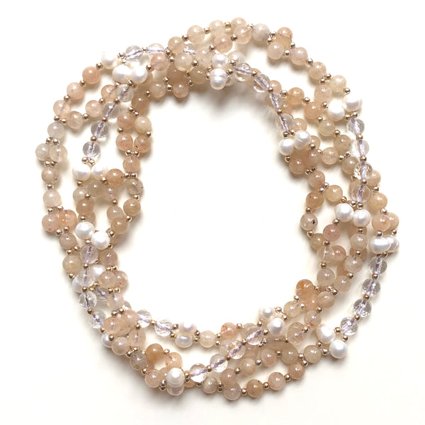 Tantric Mala Necklace Citrine Pearl Quartz 6 mm