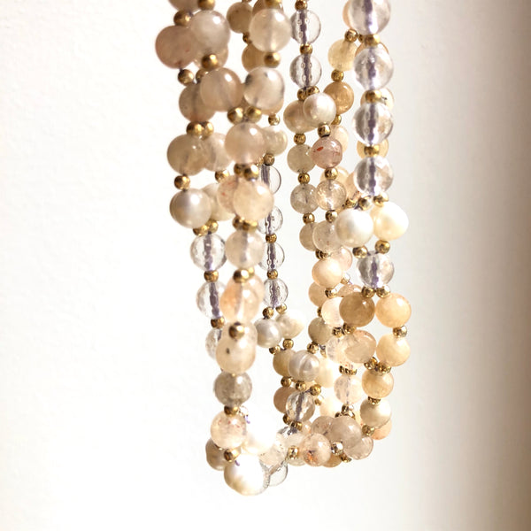 Tantric Mala Necklace: Citrine, Pearl, Quartz 6 mm.