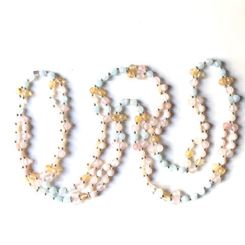 Tantric Mala Necklace: Aquamarine, Citrine, Rose Quartz, Jade 6 mm