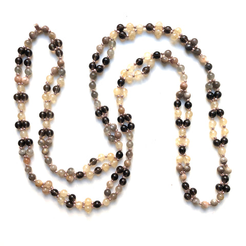 Tantric Mala Necklace: Moonstone, Smoky Quartz, Citrine 6 mm
