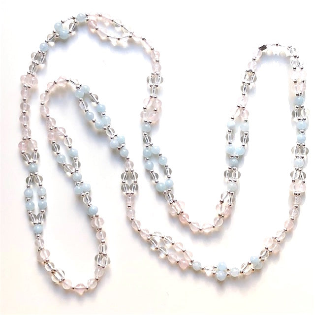 Tantric Mala Necklace: Aquamarine, Rose Quartz, Crystal Quartz 6 mm