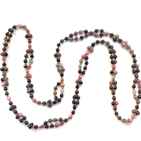 Tantric Mala Necklace: Pink & Purple Tourmaline 6 mm.