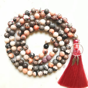 Aria Mala Atelier's unique one-of-a-kind zebra jasper gemstone meditation japa mala with silver charms is for yoga meditation, spiritual daily practise, intention setting