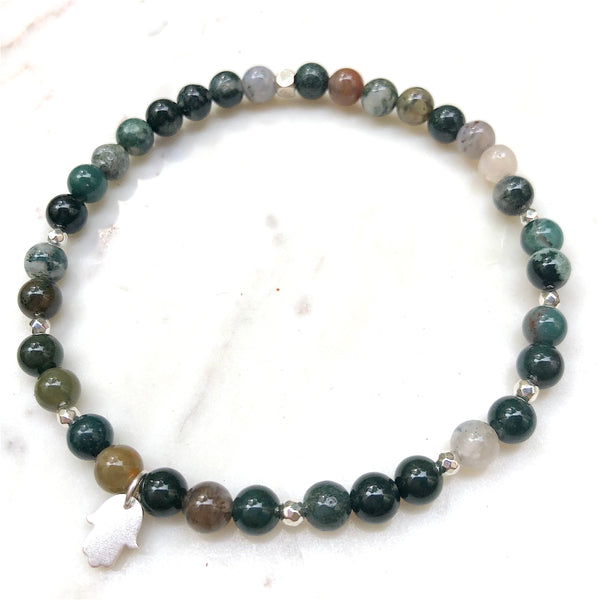 Aria Mala Atelier's unique one-of-a-kind Agate yoga anklet with sterling silver Hamsa (Fatima's Hand) charm for spiritual living and mindfulness practices