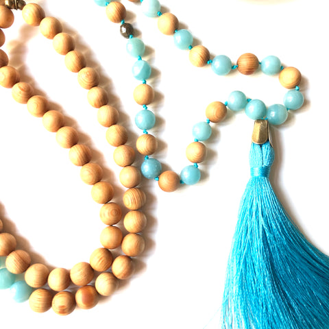 Aria Mala Atelier's unique one-of-a-kind amazonite sandalwood throat chakra gemstone meditation japa mala is for yoga meditation spiritual daily practise