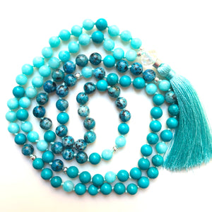 Turquoise Mala Beads, Amazonite Yoga Necklace, Jade 108 Mala Beads, Mala Kette