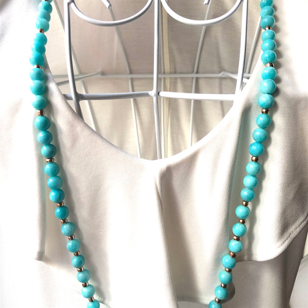 Amazonite Mala Beads, 108 Beads, Mala Necklace, OM Charm, Yoga Jewelry, Schmuck