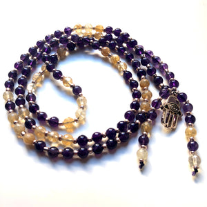 Amethyst Mala Beads, Yoga Jewelry, 108 Mala, Citrine Mala Necklace, Meditation Beads
