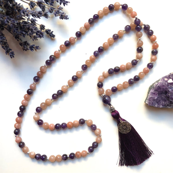 Aria Mala Atelier's unique one-of-a-kind rose Moonstone, amethyst gemstone meditation japa mala with sterling silver mandala charm is for yoga meditation empowering spiritual daily practise and intention setting