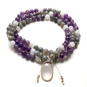 Amethyst Beads, Labradorite 108 Mala, Moonstone Mala Necklace, Rose Quartz Charm