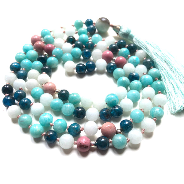 Apatite Necklace, Rhodonite Mala, Amazonite Mala Necklace, Jade, Tassel Necklace, Yoga Jewelry, 108 Mala