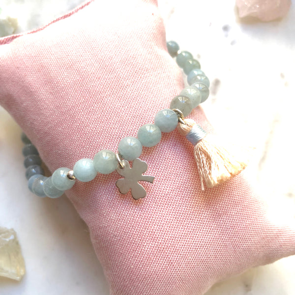 Aria Mala Atelier's unique one-of-a-kind Aquamarine Silver Clover charm anklet for spiritual living