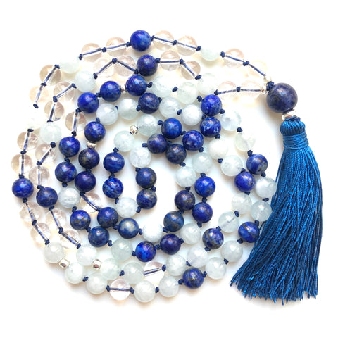 Aquamarine Mala Beads, Quartz Yoga Necklace, Lapis Lazuli 108 Mala Beads, Mala Kette
