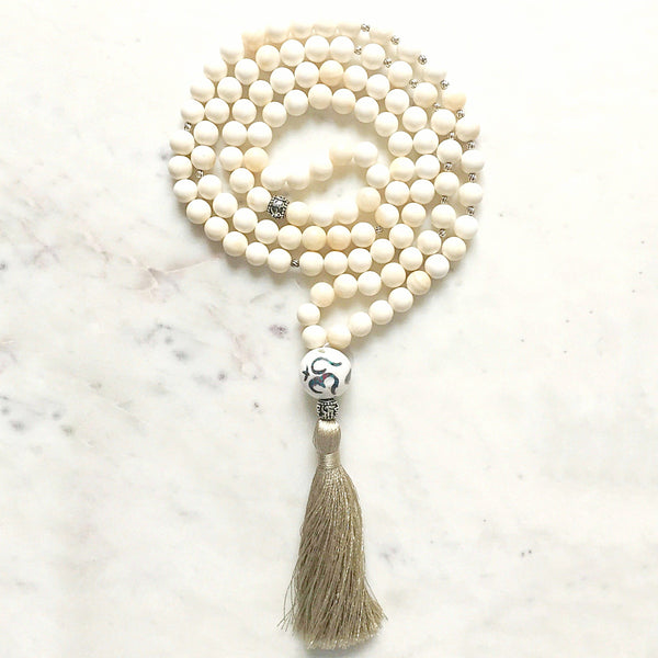 Uddharsha (Excessive joy) Purification Shell Stone, OM Guru bead Japa/Meditation Mala
