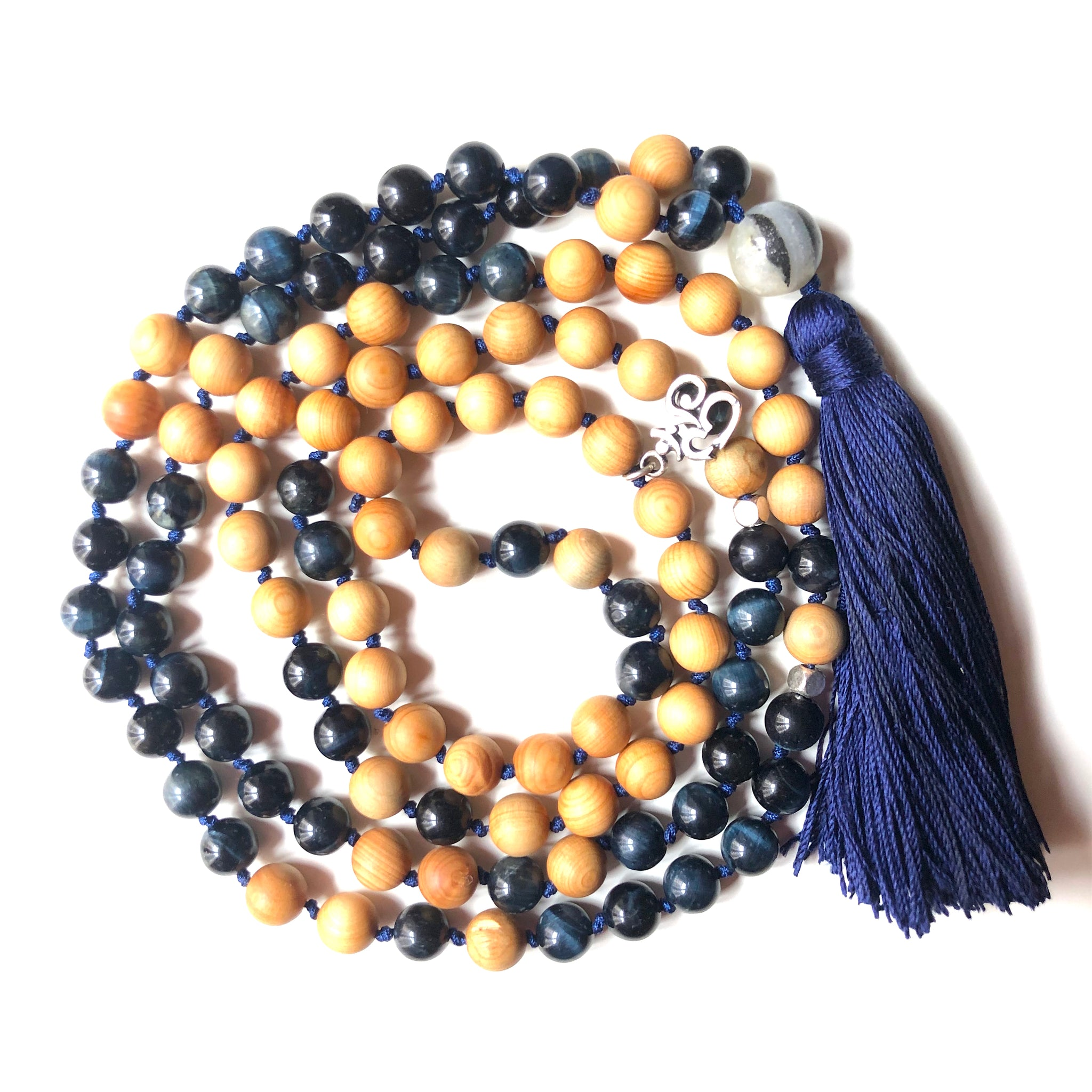 Blue Tiger's Eye Mala Beads, 108 Mala, Tassel Necklace, Yoga Jewelry, Meditation Beads