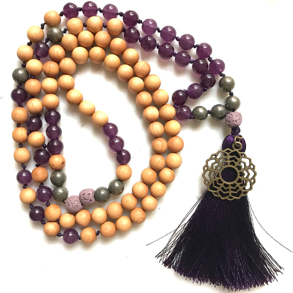 Aria Mala Atelier's unique one-of-a-kind Jade, Pyrite, Sandalwood  gemstone meditation japa mala with crown ( seventh ) chakra charm is for yoga meditation empowering spiritual daily practise and intention setting