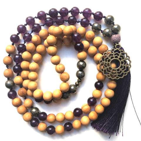 Jade Mala Beads, Pyrite Yoga Necklace, Sandalwood, Crown Chakra, Prayer Beads, 108 beads