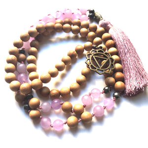 Jade Beads, Pyrite Yoga Necklace, Sandalwood, Third Chakra, Solar Plexus