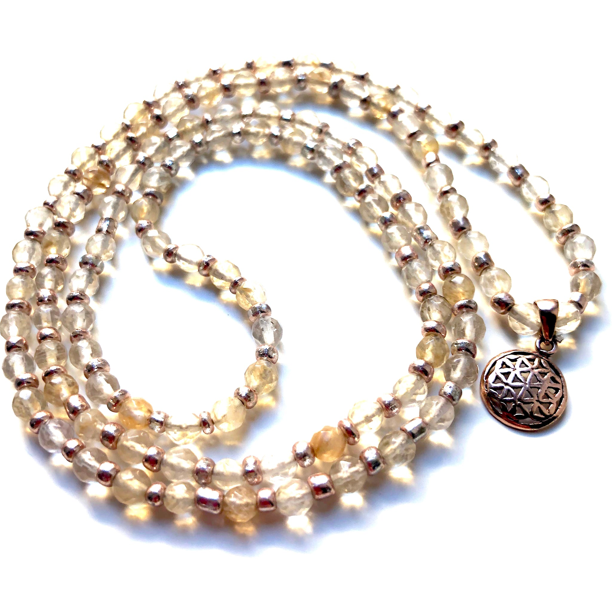 Citrine Mala Beads, 108 Mala, Flower of Life, Mala Necklace, Yoga Jewelry