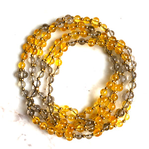 Tantric Mala Necklace: Citrine, Smoky Quartz 6 mm.